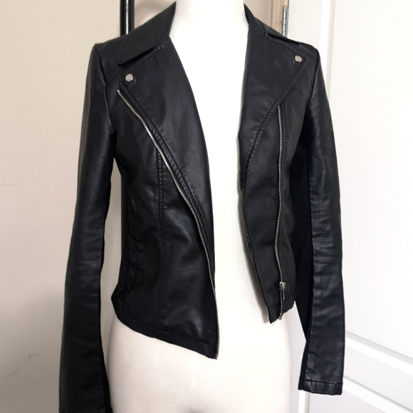 Dynamite fitted motor faux leather jacket size xs